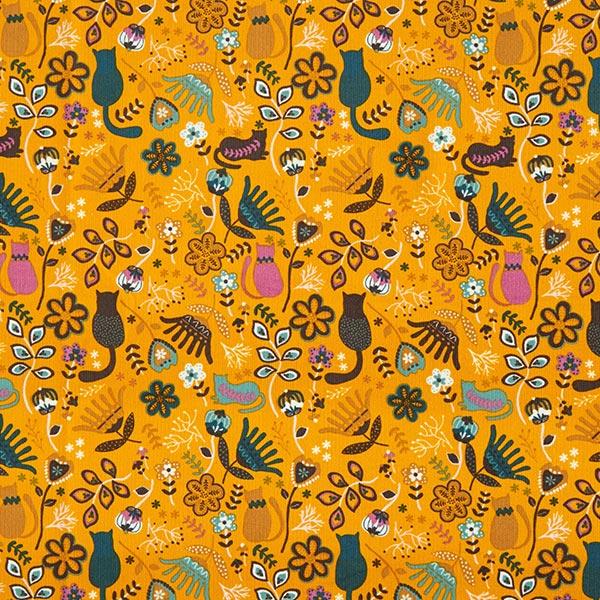 Velours milleraie chaton dans une mer de fleurs – curry