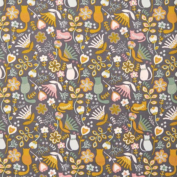 Velours milleraie chaton dans une mer de fleurs – gris foncé
