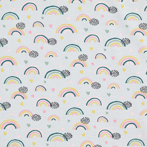Jersey coton bio Arc-en-ciel et cœurs GOTS – gris