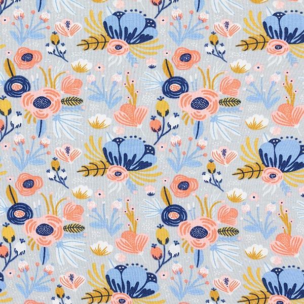 Jersey coton bio Fleurs GOTS| by Poppy – gris clair