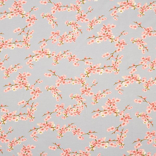 Tissu sweatshirt Fleurs de cerisier GOTS | by Poppy – gris clair