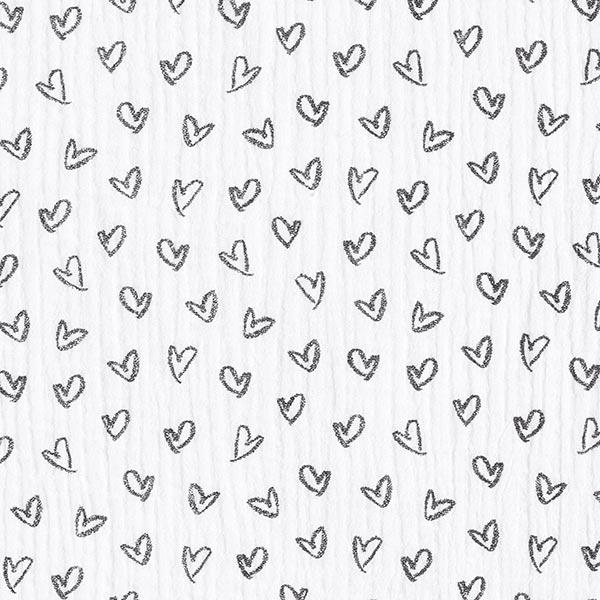 Mousseline de coton Cœurs – blanc