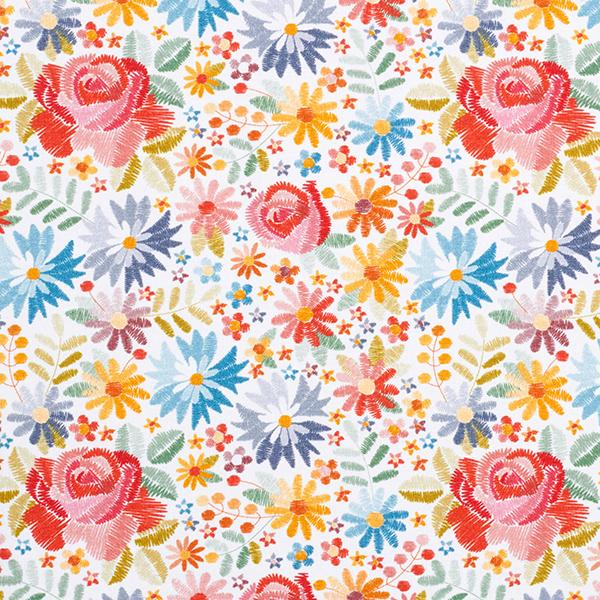 Baumwolljersey Stickblumen-Optik | by Poppy – weiss