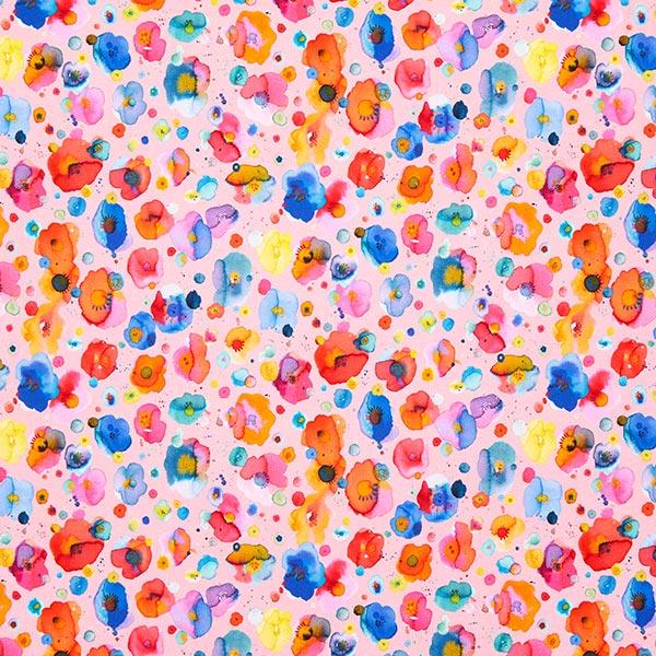 Baumwolljersey Aquarellbumen | by Poppy – rosa/Farbmix