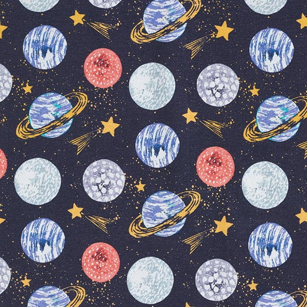 Baumwolljersey Planeten – marineblau