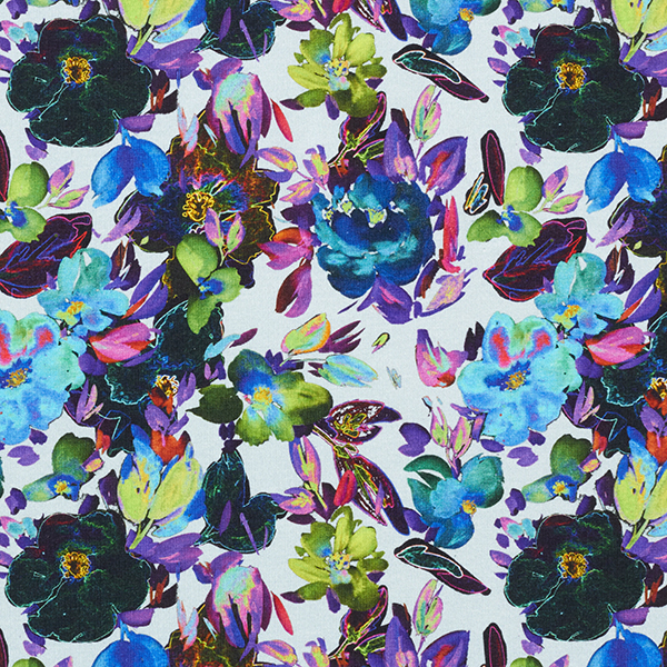 Baumwolljersey Blumenpracht | by Poppy – hellblau