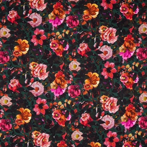 Viskosejersey Herbstblumen – dunkelgrün