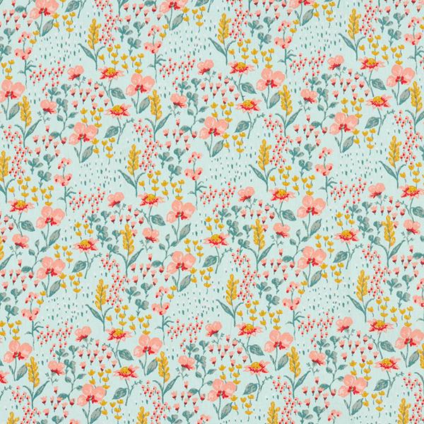 Tissu en coton Popeline Pré fleuri coloré GOTS – vert menthe