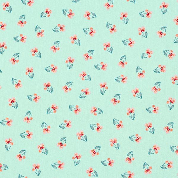 Baumwollstoff Popeline Stiefmütterchen GOTS – mintgrün