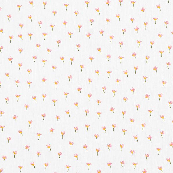 Tissu en coton Popeline Petites fleurs GOTS – blanc
