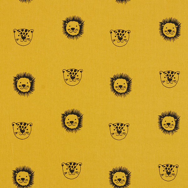 Tissu en coton Popeline Léopard & Lion GOTS – moutarde