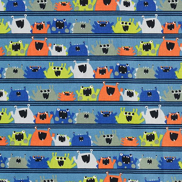 Tissu en coton Popeline Monstres joyeux GOTS – bleu jean