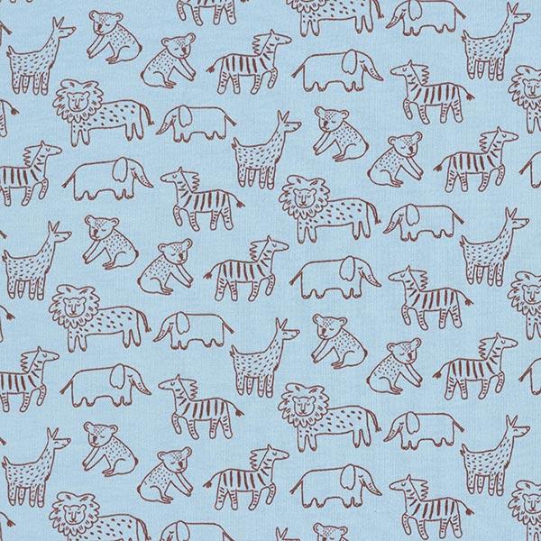 Sweat douillet GOTS Animaux de zoo – bleu clair/marron foncé