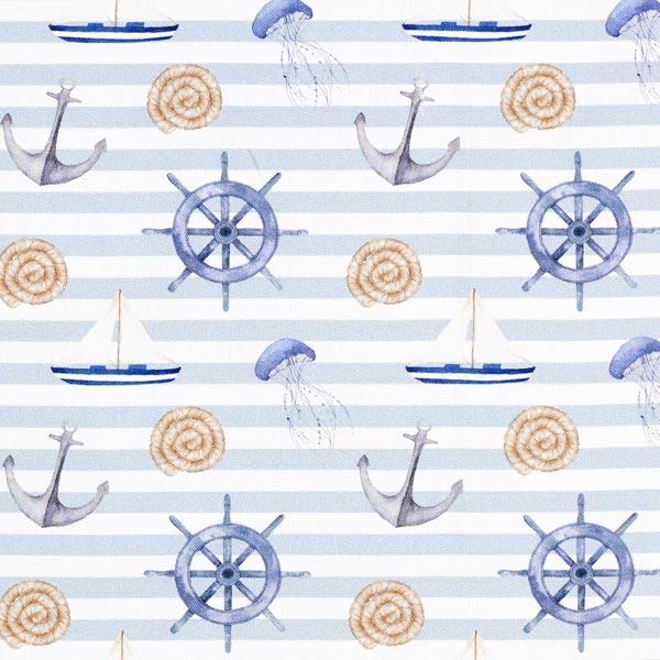 Dekostoff Canvas Digitaldruck Maritim – hellblau