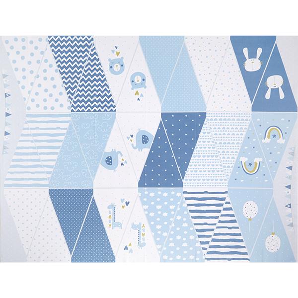 Panel Impression numérique Guirlande fanions bébé garçon – blanc/bleu