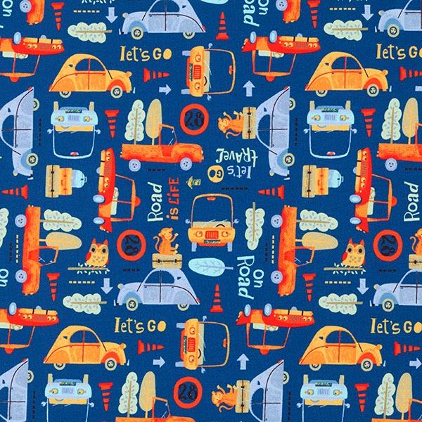 GOTS Sommersweat Autos Digitaldruck – königsblau