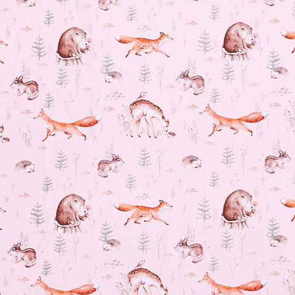 French Terry Sommersweat GOTS Waldtiere Digitaldruck – rosé