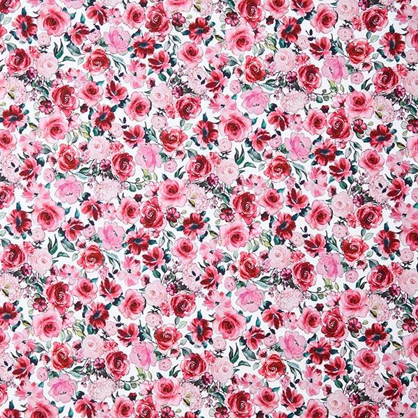 GOTS Sweatshirt angeraut Blumen Digitaldruck – weiss/rosa