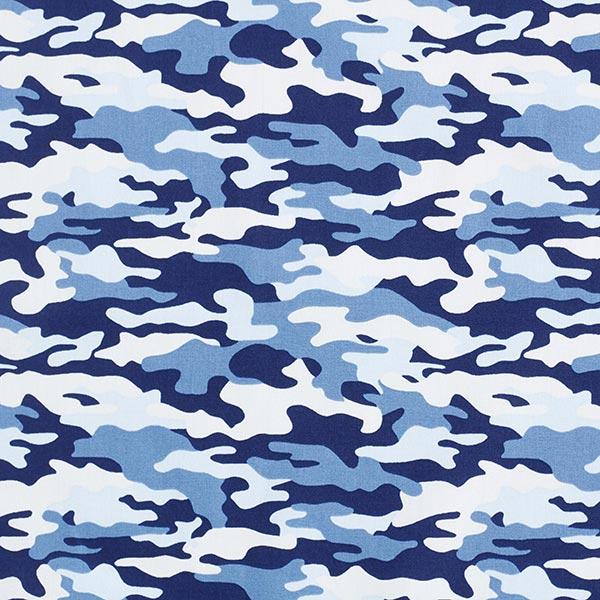 Baumwollpopeline Camouflage – marineblau/jeansblau