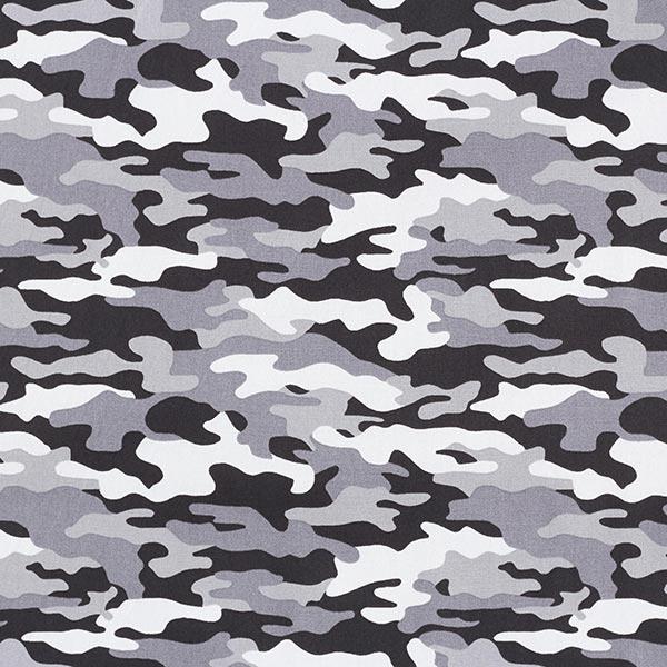 Baumwollpopeline Camouflage – grau/schwarz
