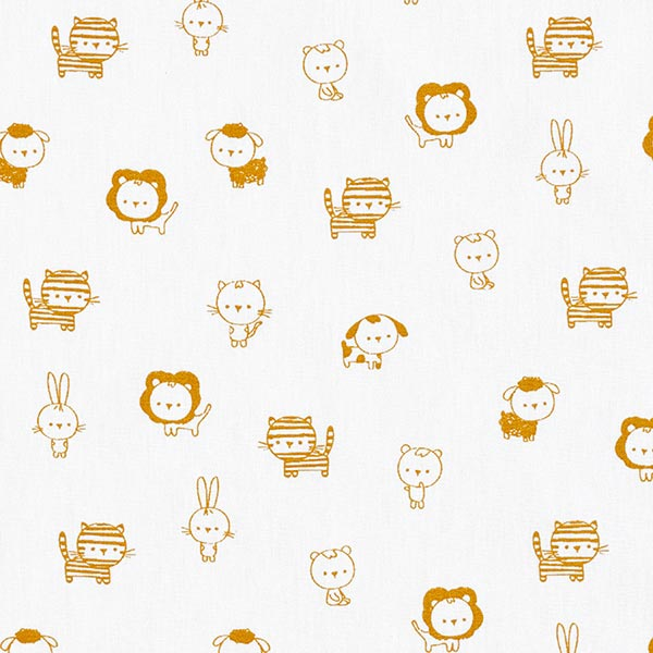 Baumwollstoffe Popeline Babytiere – weiss/senf