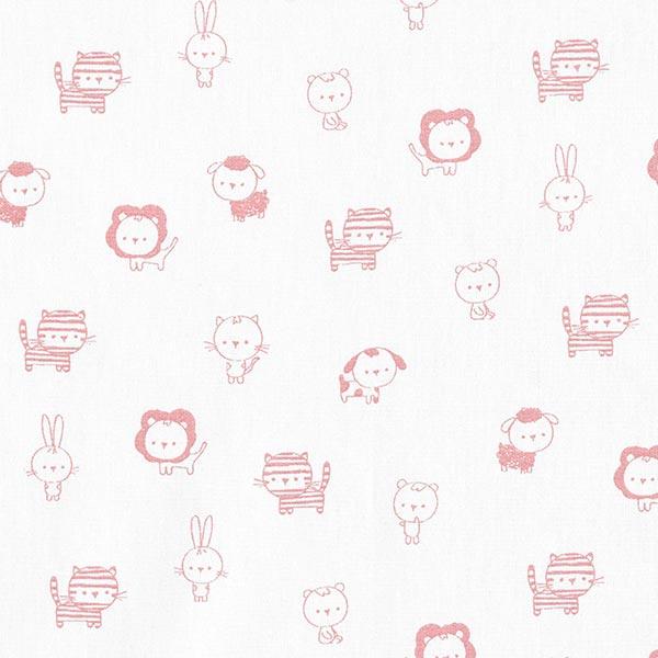 Baumwollstoffe Popeline Babytiere – weiss/altrosa