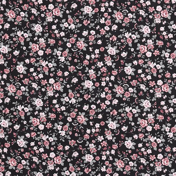 Baumwollstoff Popeline kleine Rosen – schwarz