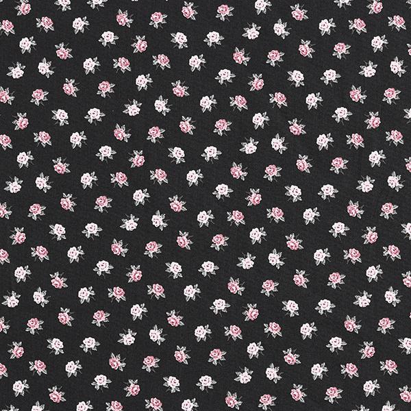 Tissu en coton Popeline Petites roses – noir