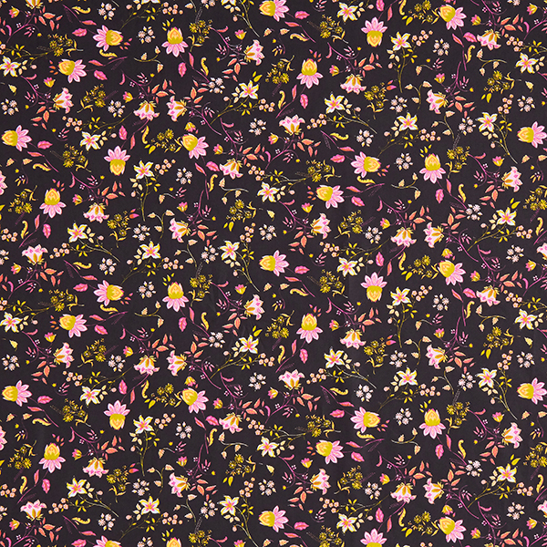 Baumwollstoff Popeline zarte Blumenranken – schwarz
