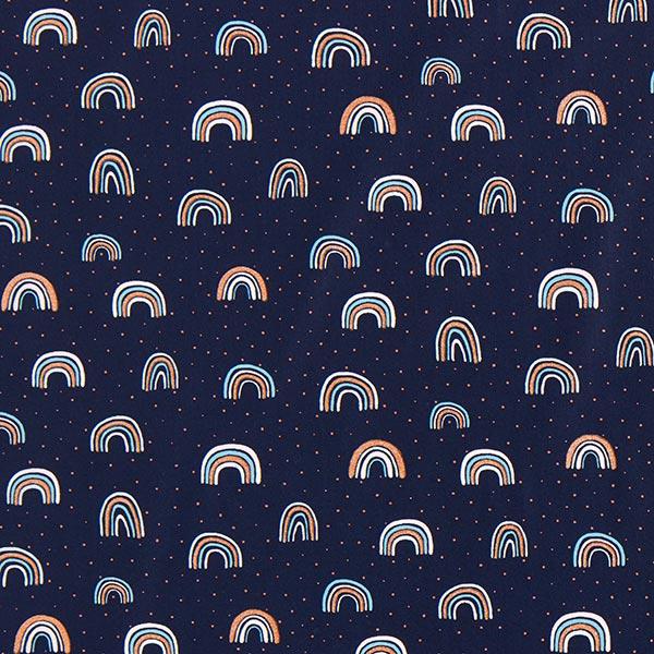 Baumwollstoffe Popeline Glitzer-Regenbogen – marineblau