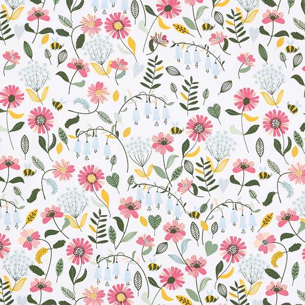 Popeline coton Prairie fleurie avec petites abeilles | by Poppy – blanc