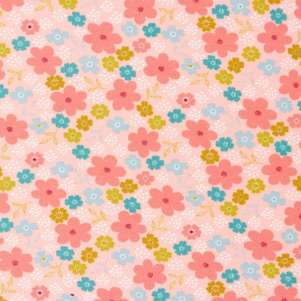 Baumwolljersey GOTS Blumen und Herzchen – rosa/lachs