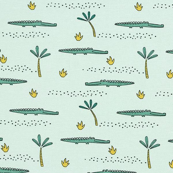 Jersey coton GOTS Crocodile – vert pastel/roseau