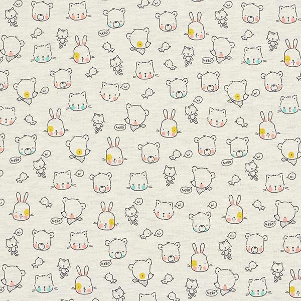 Jersey coton Bébés animaux – écru/anthracite