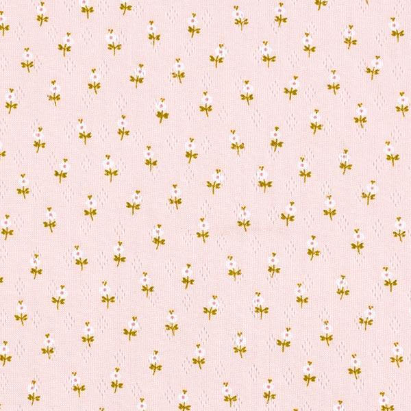 Jersey maille fine Motif à trous Petites fleurs | by Poppy – rose