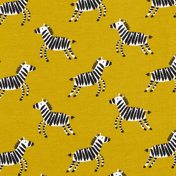 Kuschelsweat GOTS hüpfende Zebras | by Poppy – senf