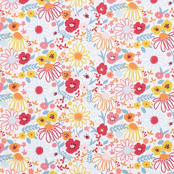 Tissu en coton Popeline Fleurs colorées – blanc/rose vif