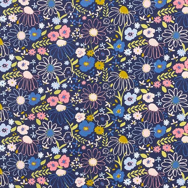 Tissu en coton Popeline Fleurs colorées – navy/vieux rose