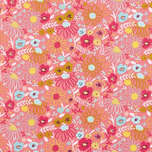 Tissu en coton Popeline Fleurs colorées – corail/vert menthe
