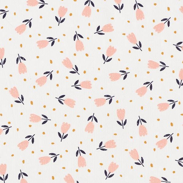 Velours milleraies Adorables fleurs – écru/saumon