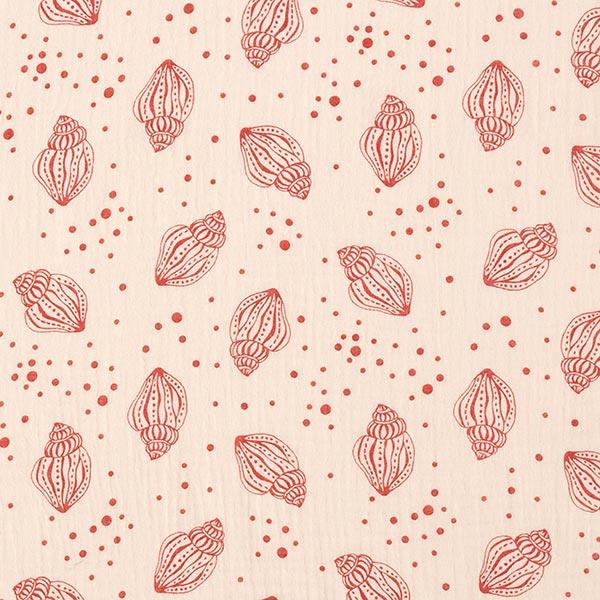 Musselin/ Doppel-Krinkel Gewebe GOTS Muscheln – rosé/terracotta