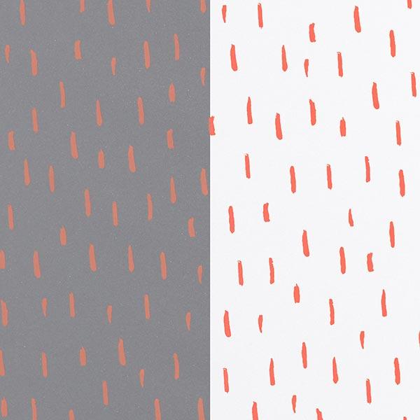 Regenjackenstoff Pinselstriche reflektierend – silbergrau/orange