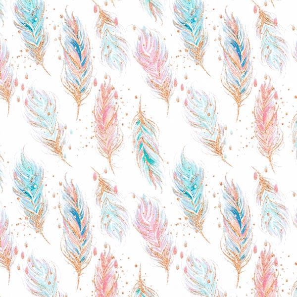 Sweat douillet GOTS Impression numérique Plumes numériques – blanc