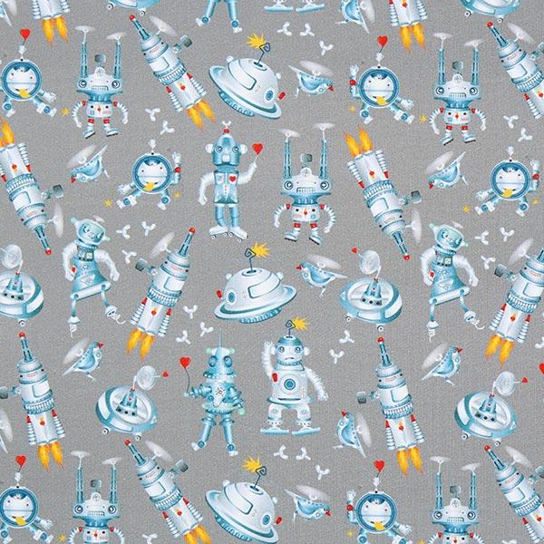 French Terry Sweat d'été GOTS Fête robot – gris