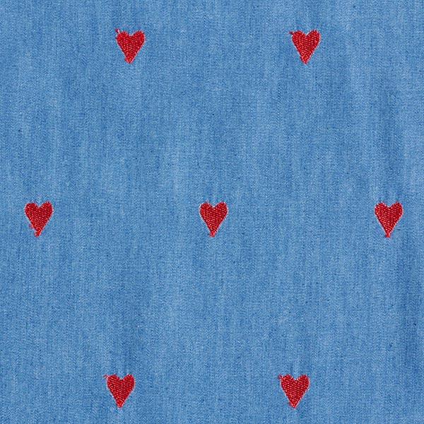 Chambray Broderie cœurs – bleu acier