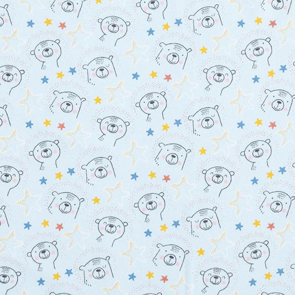 Flanelle coton Étoiles ours – bleu bébé