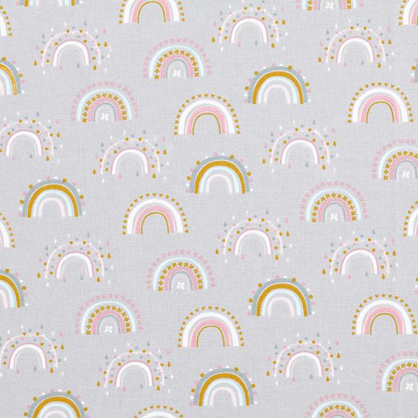 Flanelle coton Arc-en-ciel – gris clair