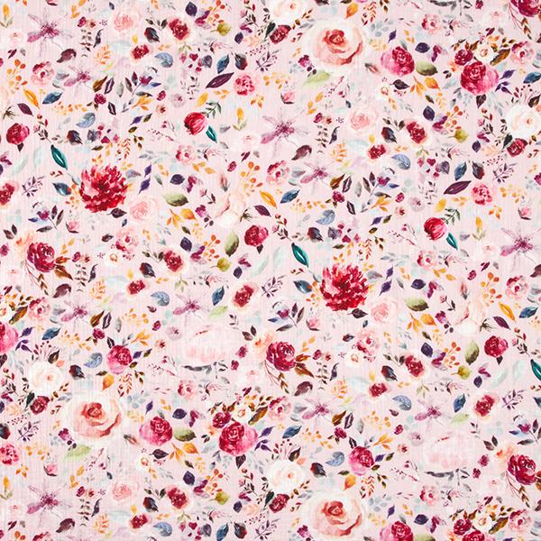 GOTS Musselin digital Aquarell-Blumen | by Poppy – rosa