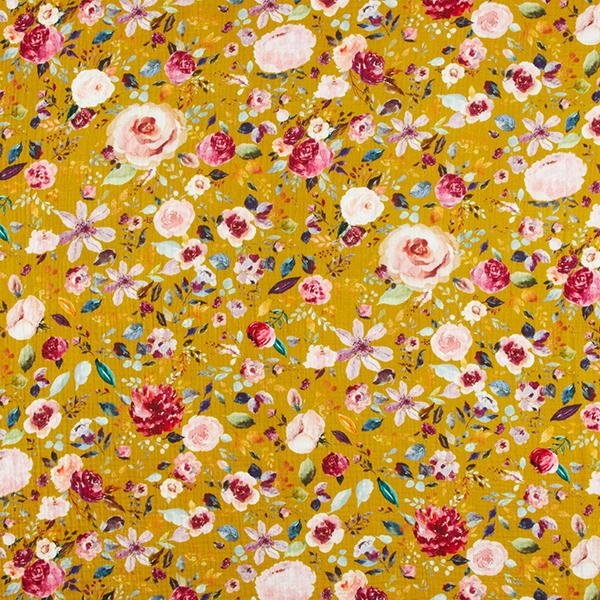GOTS Musselin digital Aquarell-Blumen | by Poppy – currygelb