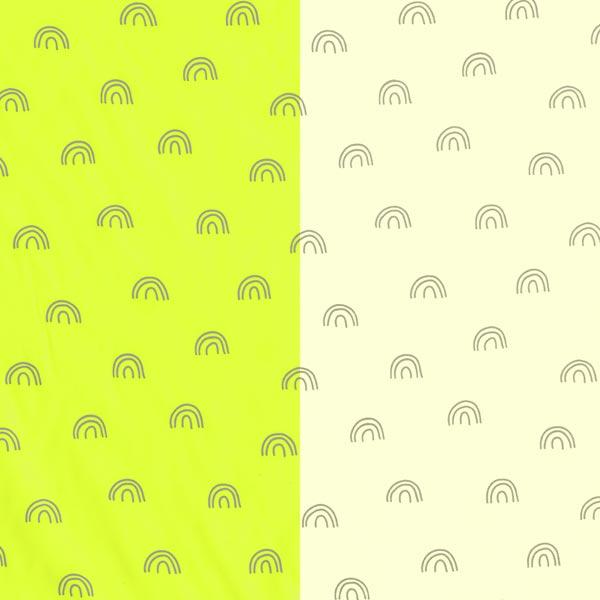 Tissu pour veste de pluie réflecteur arc-en-ciel   by Poppy – jaune fluo/argent